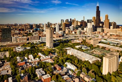 UIC Campus aerial witch Chicago Skyline